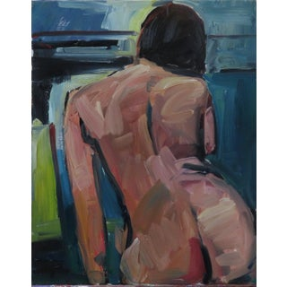 Jose Trujillo Large Expressionist Portrait Nude Woman Figure Painting For Sale