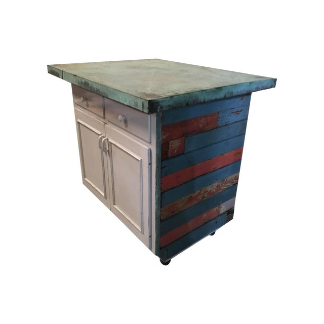 Vintage Copper Top Chippy Wood Cabinet - Image 1 of 6