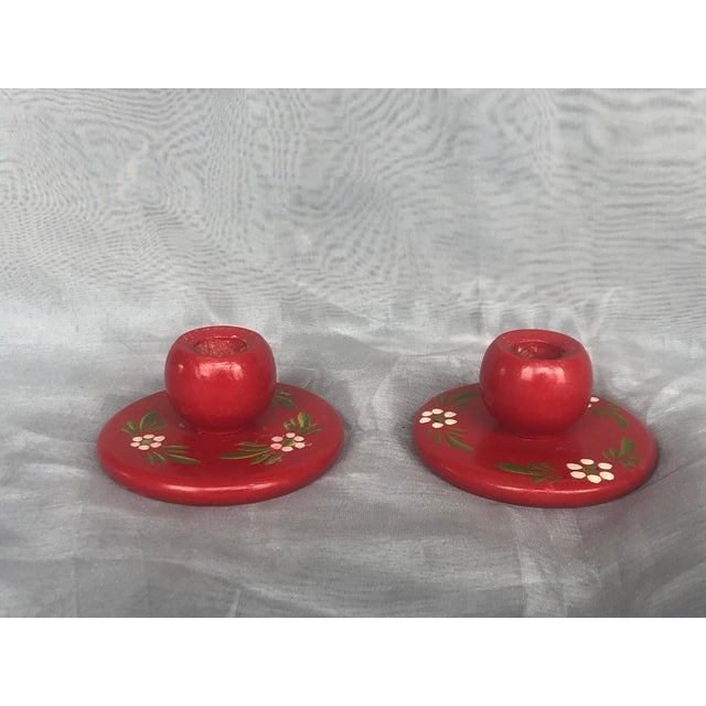 Vintage Wooden Swedish Folk Art Candle Holders- a Pair For Sale - Image 13 of 13