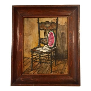 Vintage Folksy Still Life Painting For Sale