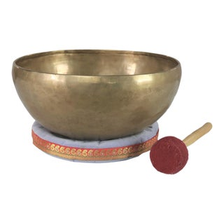 Vintage Bronze Hand Made Singing Bowl or Standing Bowl With Mallet on Pillow For Sale