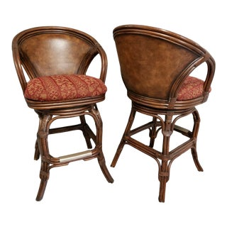 Hooker Furniture Barrel Back Bamboo Rattan & Leather Swivel Bar Stools - A Pair For Sale