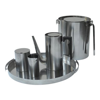 Arne Jacobsen Stainless Set for Stelton For Sale