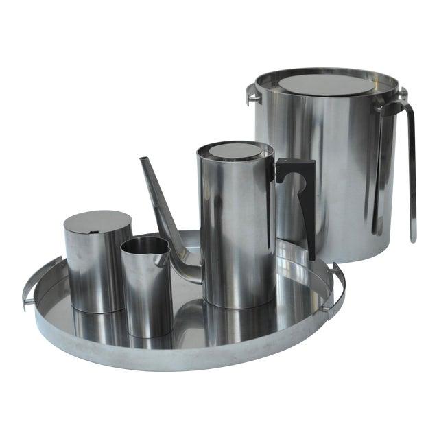 Arne Jacobsen Stainless Set for Stelton For Sale