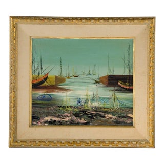 Early 20th Century Antique G. Russo Sailing Ships at Shore Oil on Canvas Painting For Sale