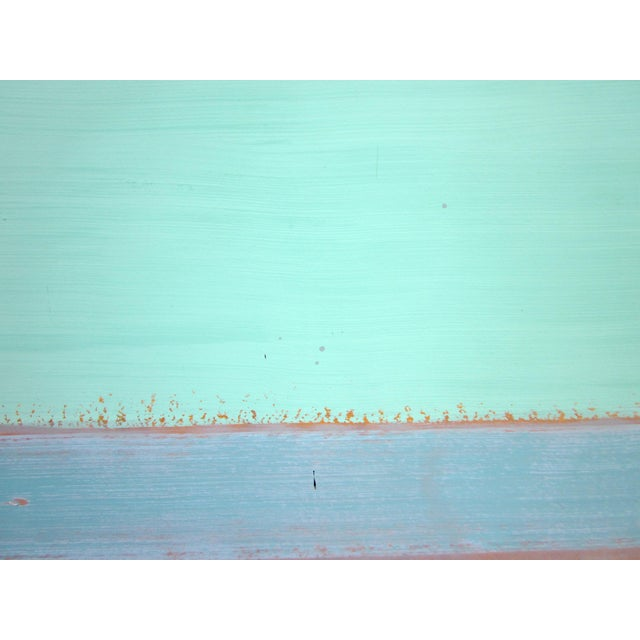 Aqua 1980s Vintage Four Panel Abstract Geometric Seaside Pastel Horizontal Line Paintings - Set of 2 For Sale - Image 8 of 12