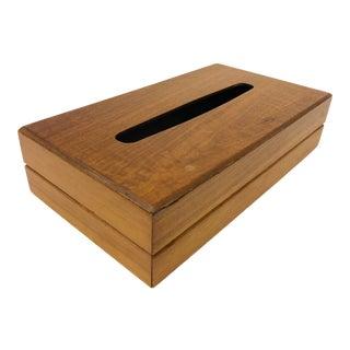 Mid Century Modern Walnut Wood Tissue Box Holder For Sale