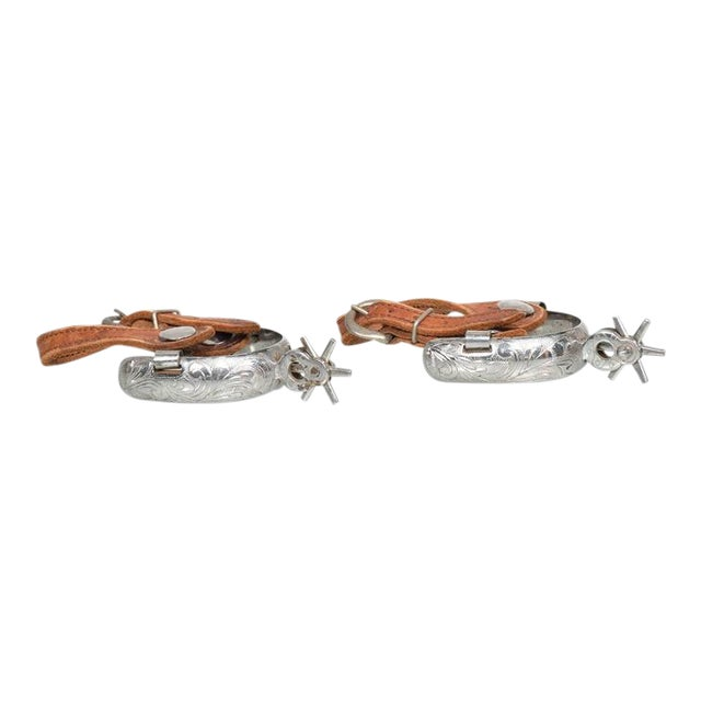 Pair of Spurs With Saddle Leather Straps For Sale