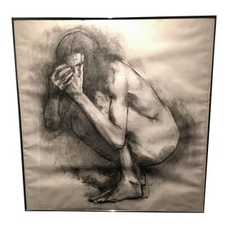 1990s Charcoal Figure Drawing on Paper For Sale