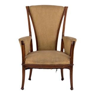 French Art Nouveau Bergére Arm Chair For Sale