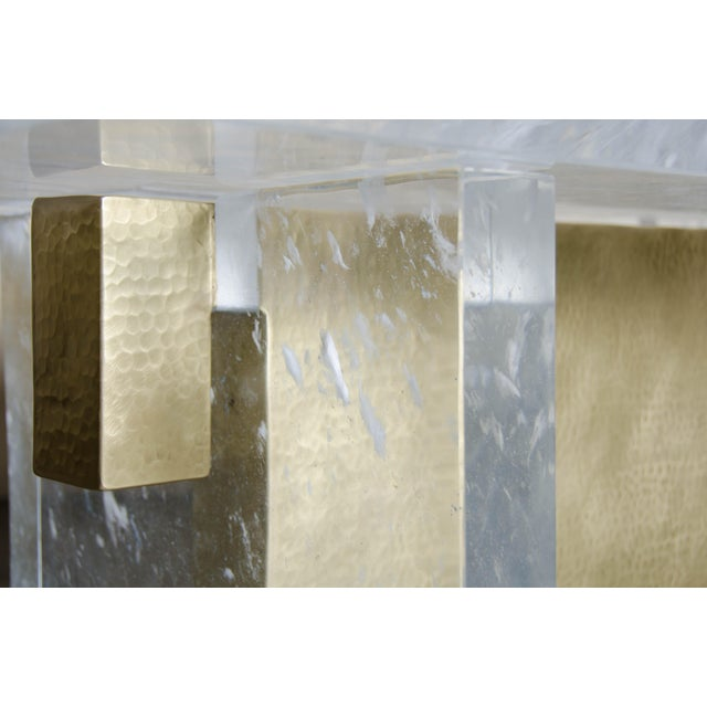 Robert Kuo Melrose Bench by Robert Kuo, Brass and Crystal, Limited Edition For Sale - Image 4 of 5