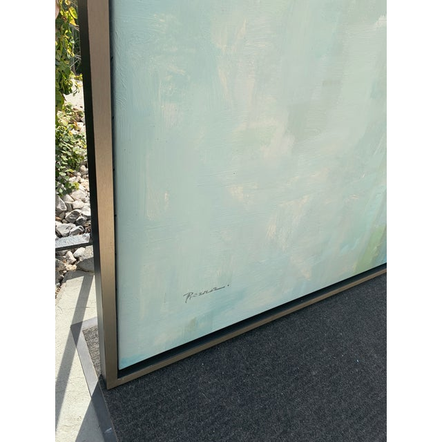 Original Abstract Oil on Canvas in Floating Silver Gilt Frame For Sale In Atlanta - Image 6 of 12