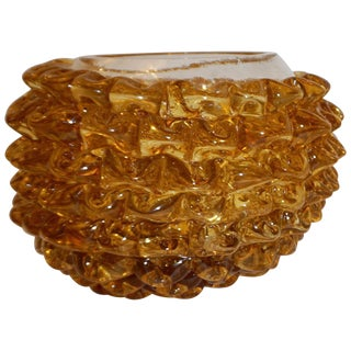 Barovier Toso 1950s Italian Vintage Amber Gold Rostrato Murano Glass Bowl For Sale