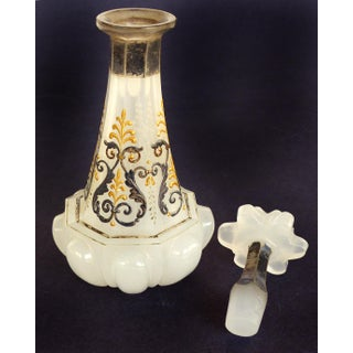 French Victorian Opaline Glass Enameled Scent Bottle with Stopper Preview