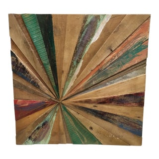 Vintage Reclaimed Wood Sun Burst Wall Art Piece For Sale