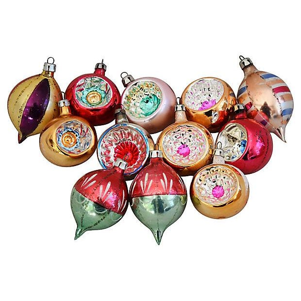 glass 1950s fancy christmas ornaments wbox set of 12 for sale image