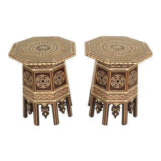 Moroccan Mother of Pearl Inlaid Occasional Tables - a Pair For Sale
