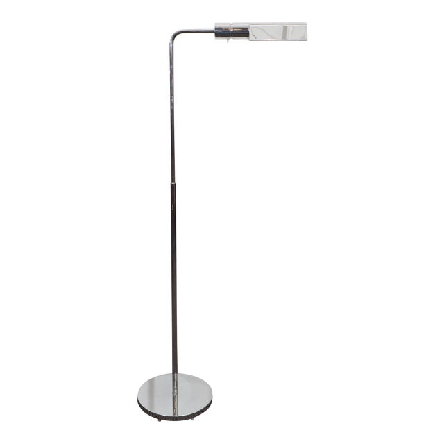 Casella Adjustable Reading Floor Lamp in Chrome For Sale