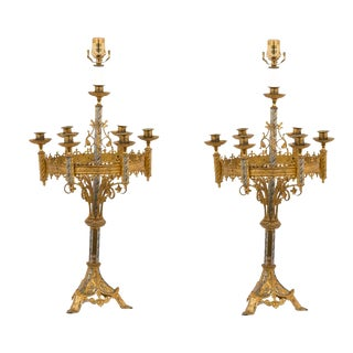 Early 20th Century Candleabra Lamps - a Pair For Sale