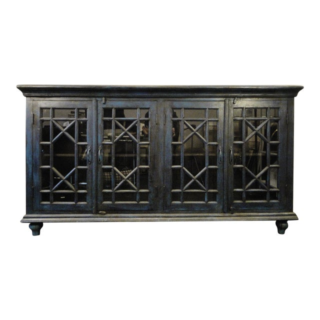 Blue Wood and Glass Sideboard - Image 1 of 6