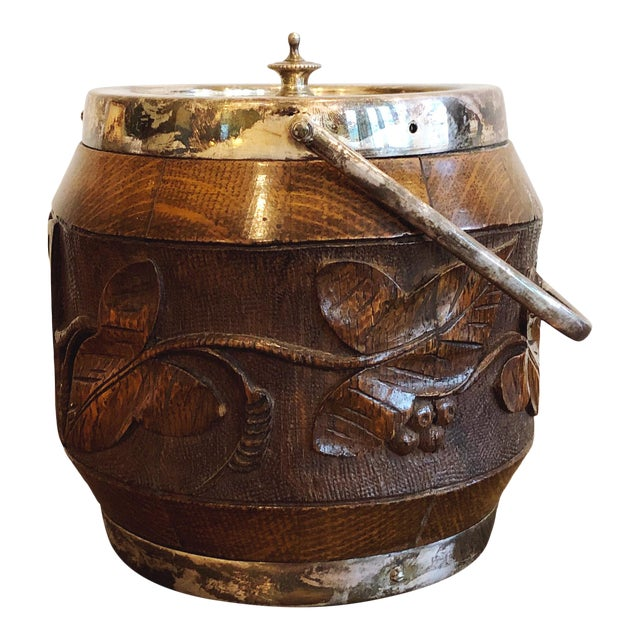 Antique Carved Wood and Silverplate Ice Bucket For Sale