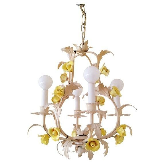 White Italian Tole Yellow Rose Chandelier For Sale