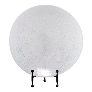 Large Round White Glass Platter With Bubbles For Sale