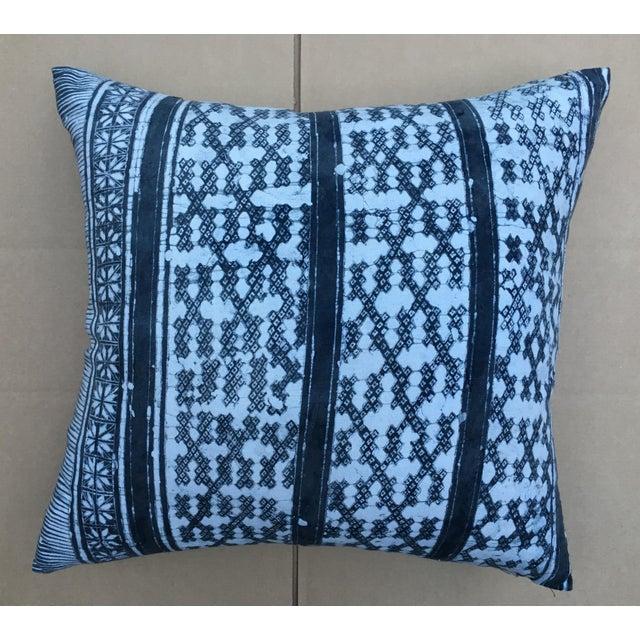 Gray Batik Cotton Tribal Pillow - Image 2 of 7