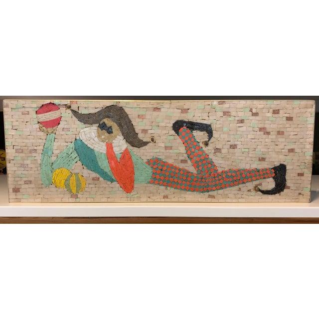 1950s Vintage Harlequin Jester Tile Mosaic Wall Hanging For Sale - Image 5 of 12