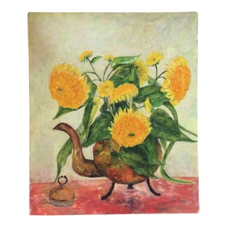 Vintage Sunflowers Oil Painting on Board For Sale