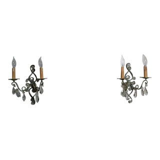 1930s French Art Deco Patinated & Worked Iron & Crystal Wall Sconces Attrib. Maison Bagues - a Pair For Sale