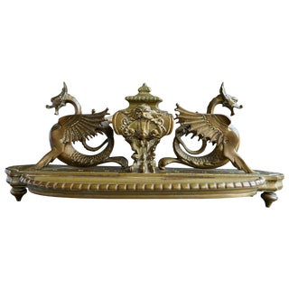 19th Century Victorian Brass Inkwell With Winged Dragons and Integrated Pen Tray For Sale