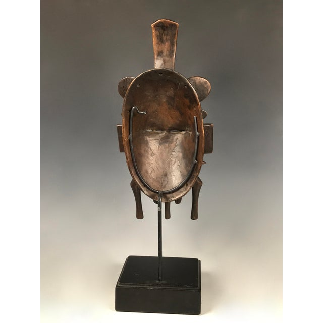 Metal African Art Double Face Senufo Mask For Sale - Image 7 of 7