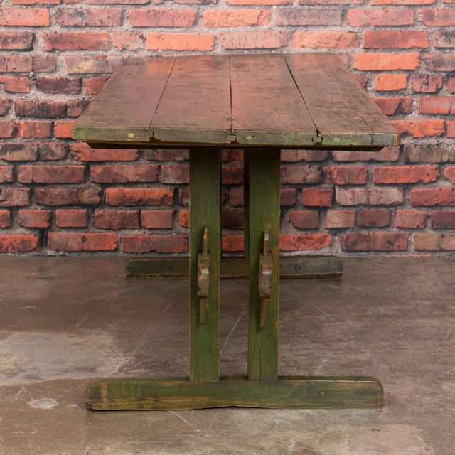 19th Century Rustic Green Painted Harvest/Farm Trestle Table For Sale - Image 4 of 9