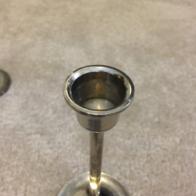 Brass and Silver Plated Candlesticks - Pair - Image 7 of 8