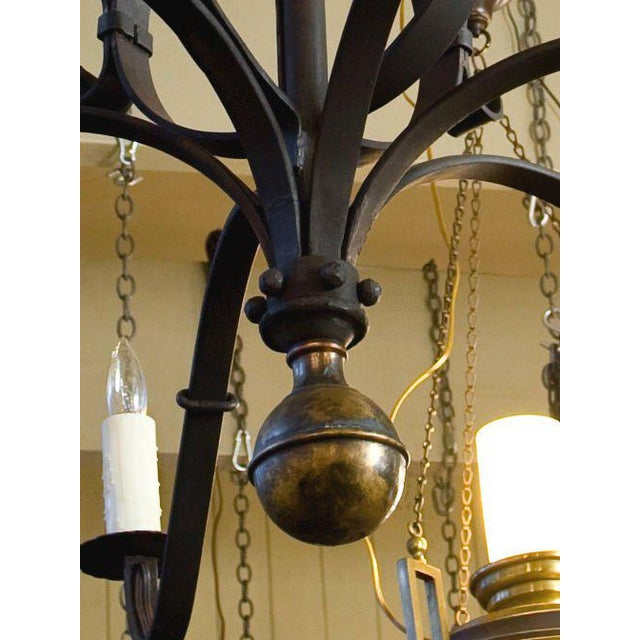 """Metal Monumental Custom Forged-Iron """"Defiance"""" Chandelier with Large Brass Ball Finial For Sale - Image 7 of 7"""