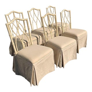 Mid Century Thomasville Faux Bamboo Chair With Custom Linen Seat/Skirt - Set of 6 For Sale