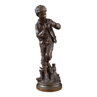 """'The Fisher Boy' """"Le Petit Pêcheur"""", Bronze by Count Eugene d'Astaniere For Sale"""
