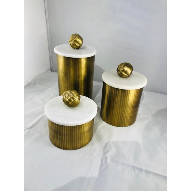 Brass Canisters With Marble Lids - Set of 3 For Sale - Image 9 of 9