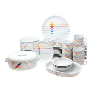 "1980s ""Sextet"" Geometric Rainbow Postmodern Dinnerware by Vista Alegre - Set of 54 For Sale"