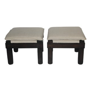 1960s Upholstered Wooden Ottomans - A Pair