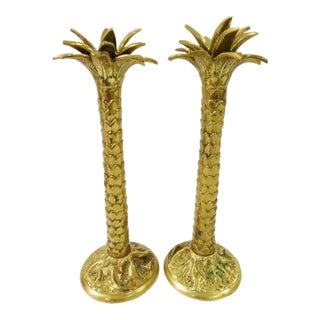 Maitland-Smith Palmtree Candlestick Holders - A Pair For Sale