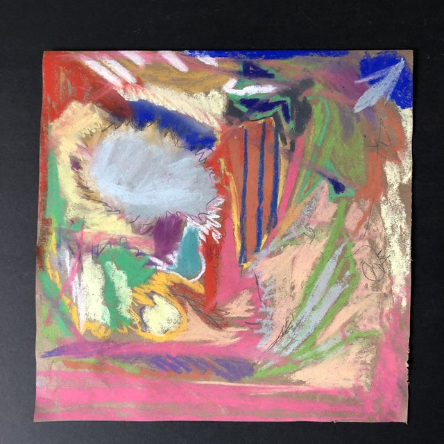 Erik Sulander Abstract 100, Original Pastel Drawing by Erik Sulander 12x12 For Sale - Image 4 of 4