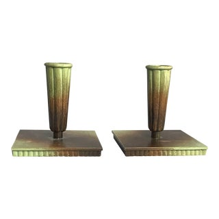 Ystad Brons Sweden Green Brown Candle Stick Holders - a Pair