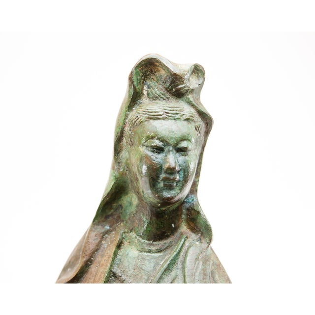 2010s Lawrence & Scott Large Scale Verdigris Bronze Figure of Guan Yin Goddess of Mercy With Hand-Carved Hardwood Stand For Sale - Image 5 of 10