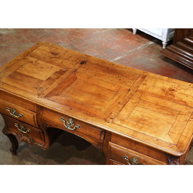 18th Century French Louis XV Carved Serpentine Cherry Desk With Parquetry Top For Sale - Image 9 of 13