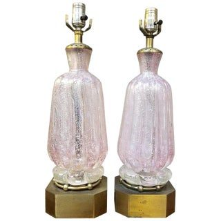 Murano Silver Leaf Hand Blown Pink Bubble Glass Table Lamps a Pair For Sale