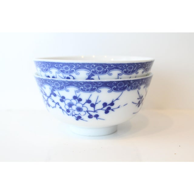 Vintage Blue and White Chinese Rice Bowls - a Pair For Sale - Image 4 of 7