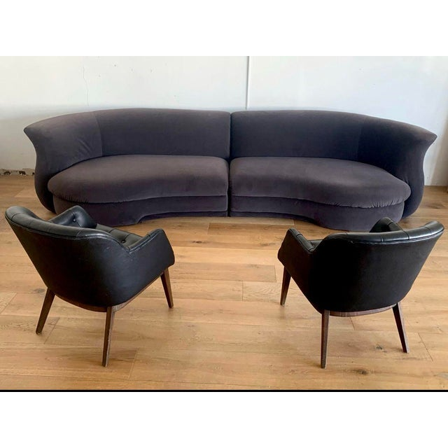 Mid-Century Modern Gray Velvet Postmodern Sectional Vladimir Kagan Style For Sale - Image 3 of 5