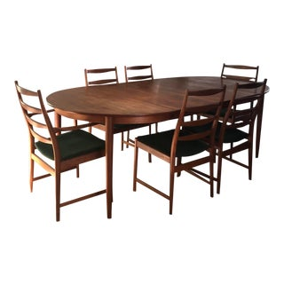Vintage Mid Century Skovmand and Andersen Teak Dining Table and Torbjørn Afdal Dining Chairs- 7 Pieces For Sale